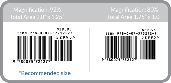 ISBN barcode sizes