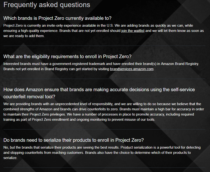 amazon project zero faqs
