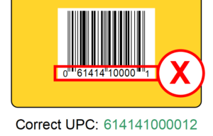 incorrect upc number
